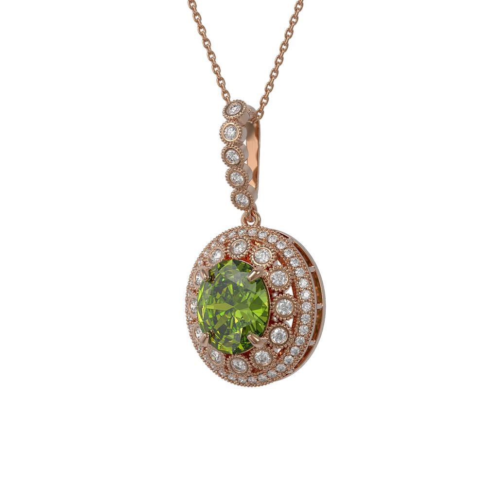 7.51 ctw Tourmaline & Diamond Necklace 14K Rose Gold - REF-206W7H - SKU:43839