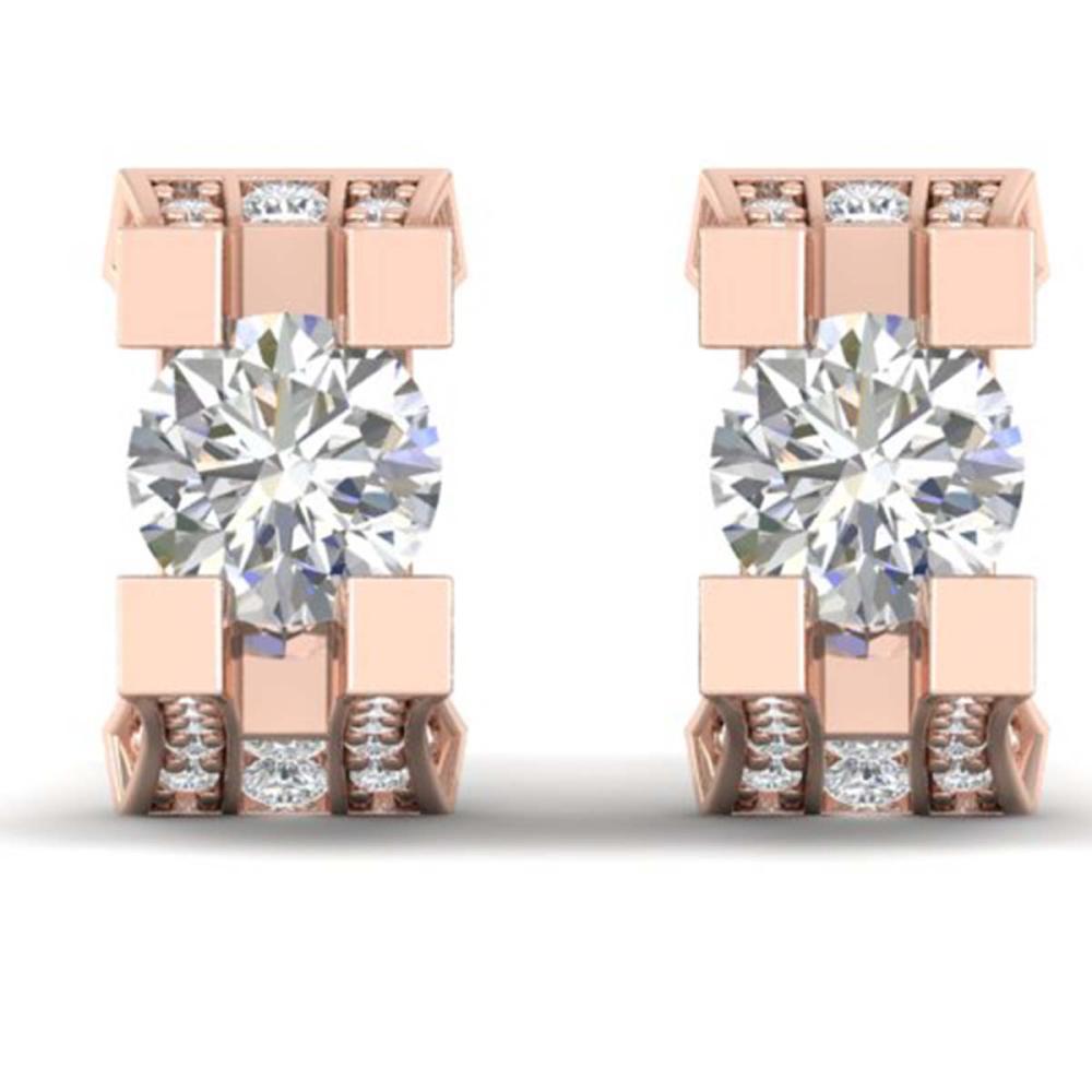 2.25 ctw VS/SI Diamond Art Deco Stud Earrings 18K Rose Gold - REF-237A8V - SKU:32547