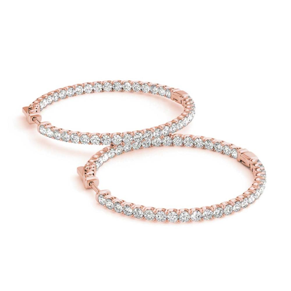 3.33 ctw Diamond VS/SI 44 mm Hoop Earrings 14K Rose Gold - REF-228V2Y - SKU:28964