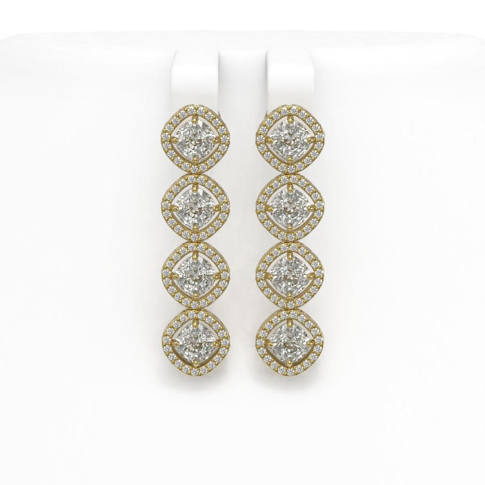 5.28 ctw Cushion Diamond Earrings 18K Yellow Gold - REF-736X2R - SKU:42811