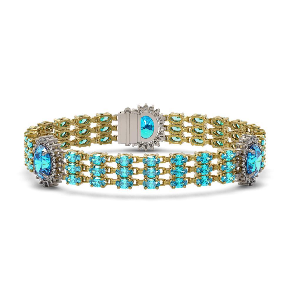 30.94 ctw Swiss Topaz & Diamond Bracelet 14K Yellow Gold - REF-230F2N - SKU:45286
