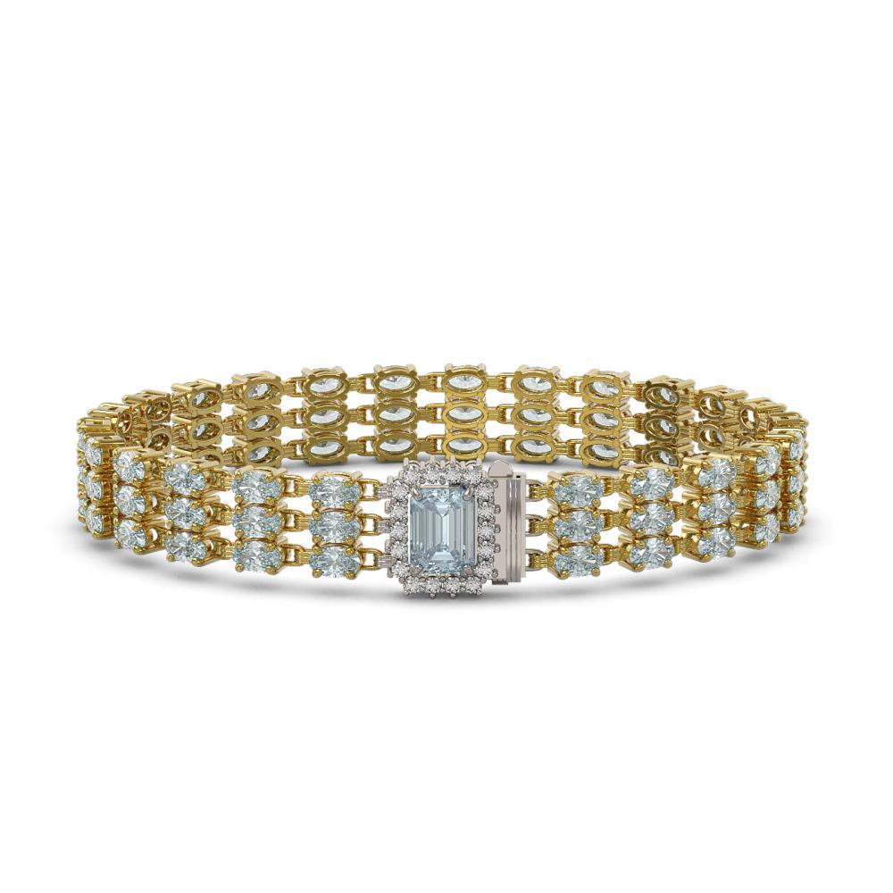 26.02 ctw Sky Topaz & Diamond Bracelet 14K Yellow Gold - REF-223K5W - SKU:45967