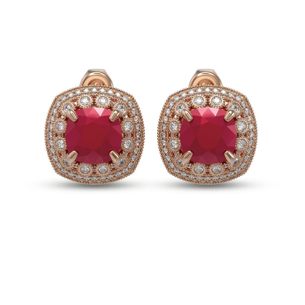 12.49 ctw Ruby & Diamond Earrings 14K Rose Gold - REF-228X4R - SKU:43980