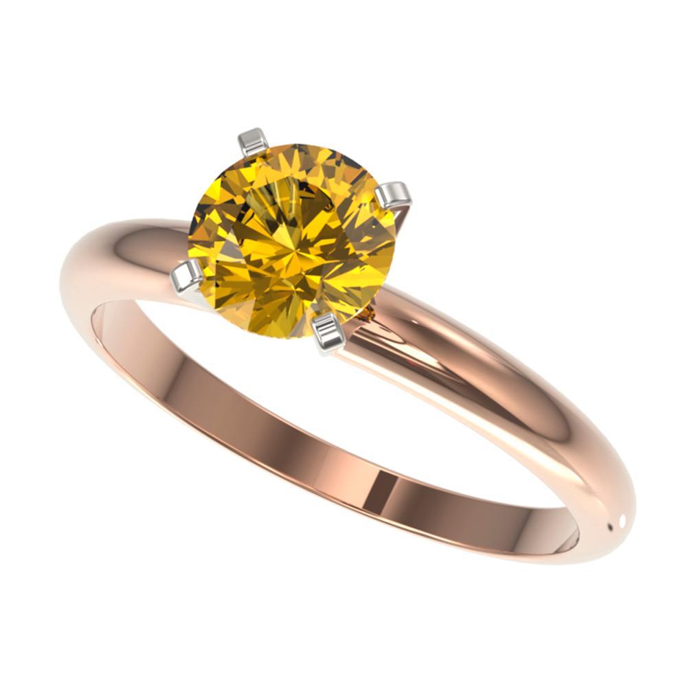 1.25 ctw Intense Yellow Diamond Solitaire Ring 10K Rose Gold - REF-225W2H - SKU:32912