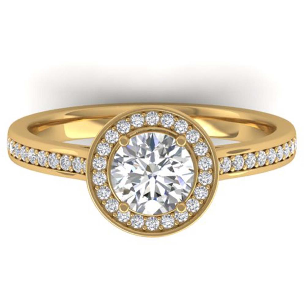 1.10 ctw VS/SI Diamond Halo Ring 18K Yellow Gold - REF-204N5A - SKU:32611