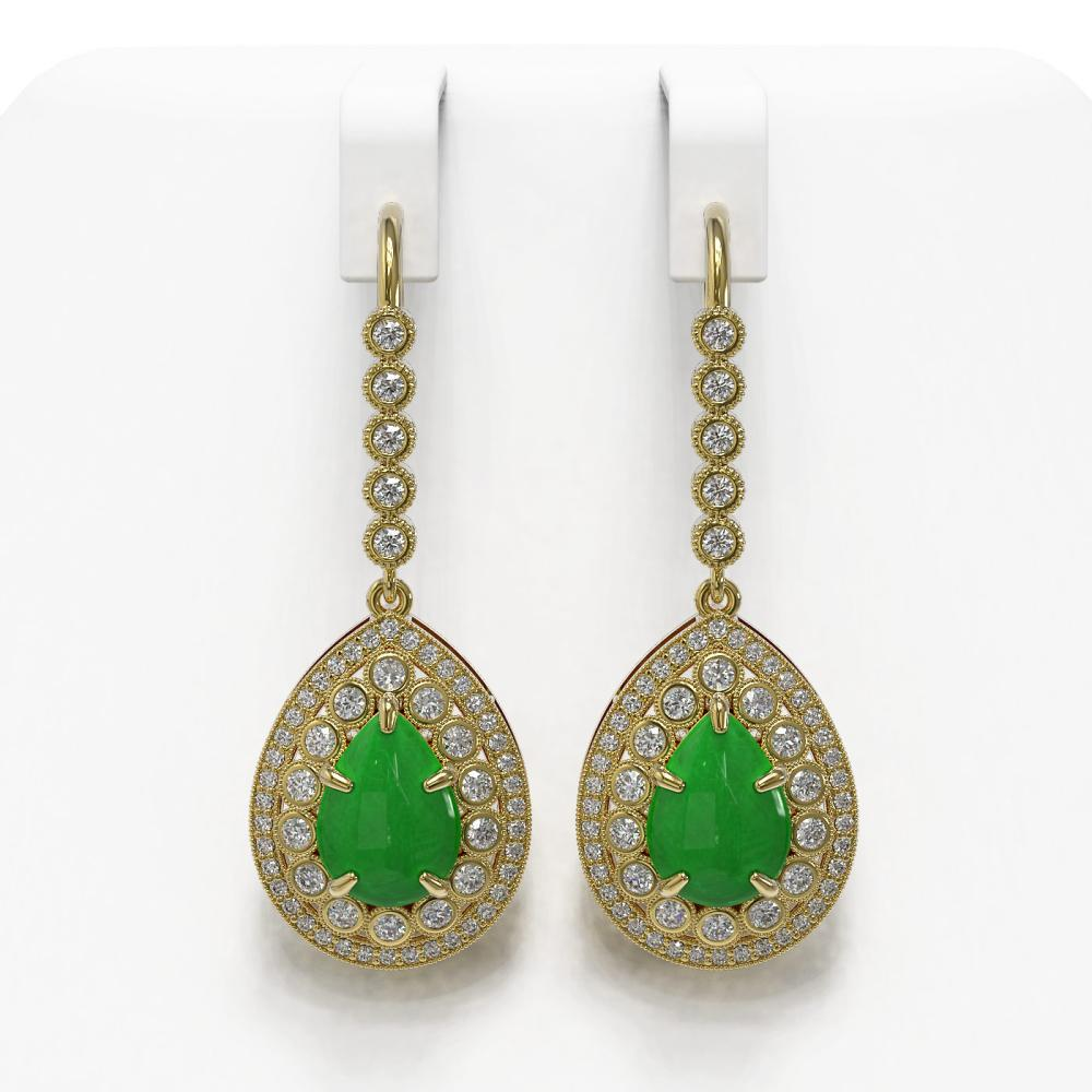 8.15 ctw Jade & Diamond Earrings 14K Yellow Gold - REF-241K6W - SKU:46151