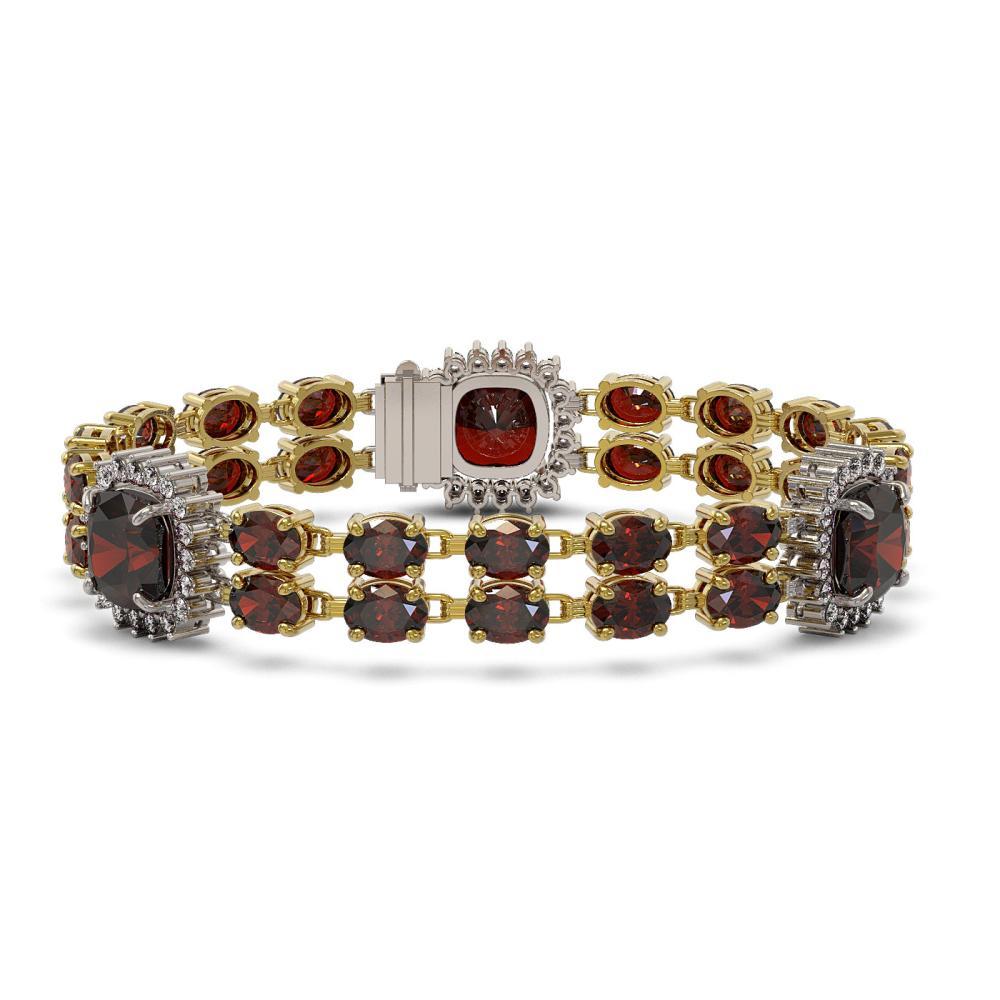 17.34 ctw Garnet & Diamond Bracelet 14K Yellow Gold - REF-235M3F - SKU:44785