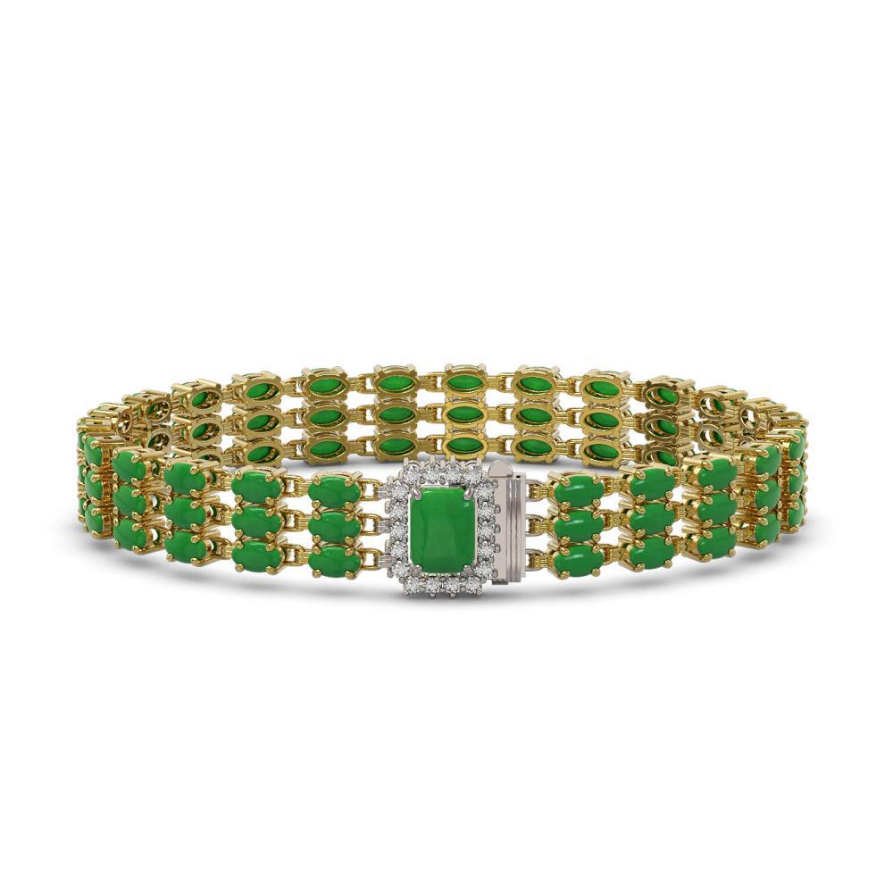 18.41 ctw Jade & Diamond Bracelet 14K Yellow Gold - REF-233K3W - SKU:45991