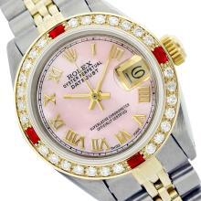 Rolex Ladies Two Tone 14K Gold/ss, Roman Dial with Diam/Ruby Bezel, Saph Crystal - REF-357Z8Y
