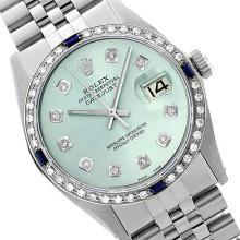 Rolex Ladies Stainless Steel, Diam Dial & Diam/Sapphire Bezel, Saph Crystal - REF-355Y6X