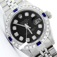 Rolex Ladies Stainless Steel, Diam Dial & Diam/Sapphire Bezel, Saph Crystal - REF-355K6R