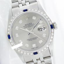 Rolex Ladies Stainless Steel, Diam Dial & Diam/Sapphire Bezel, Saph Crystal - REF-355H6W