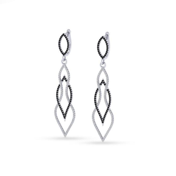 1.90 CTW Micro Pave Black & White VS/SI Diamond Earrings 14K White Gold - REF-153K3W - 20092