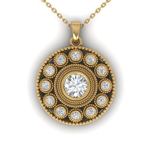 0.91 CTW Certified VS/SI Diamond Art Deco Necklace 18K Yellow Gold - REF-139X3T - 32728