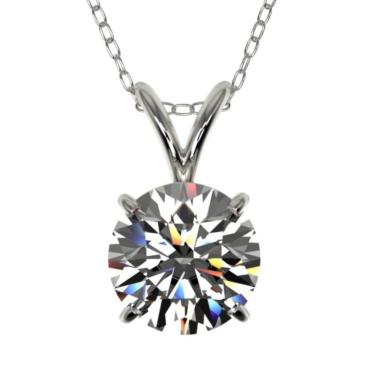 1.28 CTW Certified H-SI/I Quality Diamond Solitaire Necklace 10K White Gold - REF-240W2F - 36776