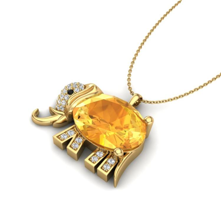 8 CTW Citrine & Micro Pave Huggable Elephant VS/SI Diamond Necklace 10K Yellow Gold - REF-44H2A - 22662