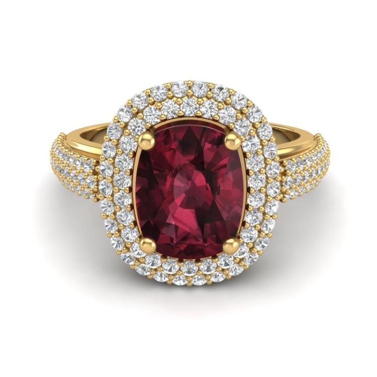 3.10 CTW Garnet & Micro Pave VS/SI Diamond Halo Ring 10K Yellow Gold - REF-81F8N - 20713