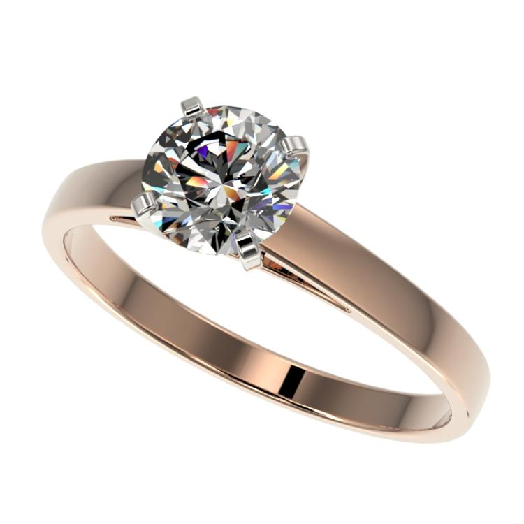 0.97 CTW Certified H-SI/I Quality Diamond Solitaire Engagement Ring 10K Rose Gold - REF-199H5A - 36496