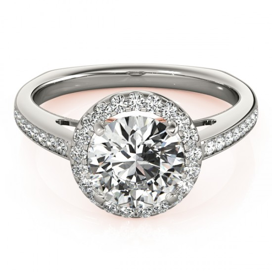 0.8 CTW Certified VS/SI Diamond Solitaire Halo Ring 14K White & Rose Gold - REF-115A5X - 24803