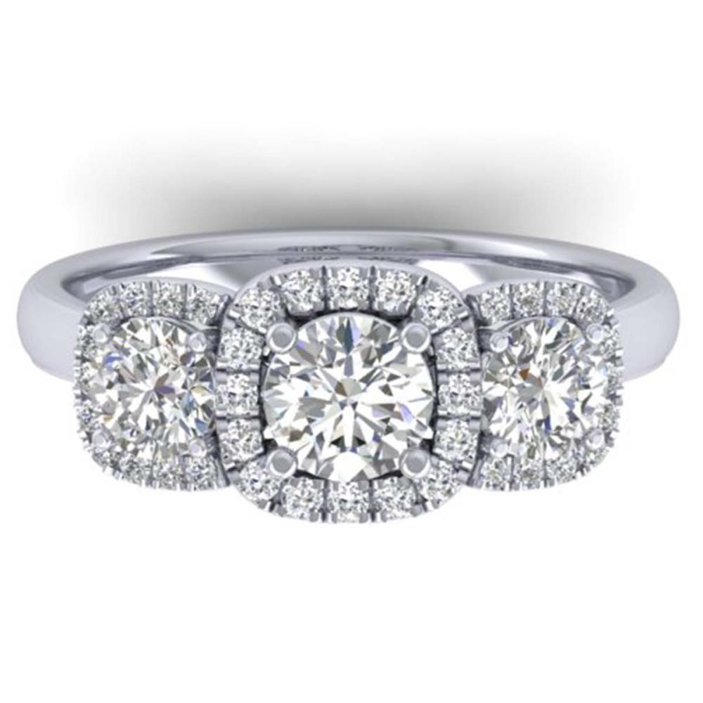 1.55 ctw VS/SI Diamond Solitaire 3 Stone Ring 18K White Gold - REF-205H3M - SKU:32684