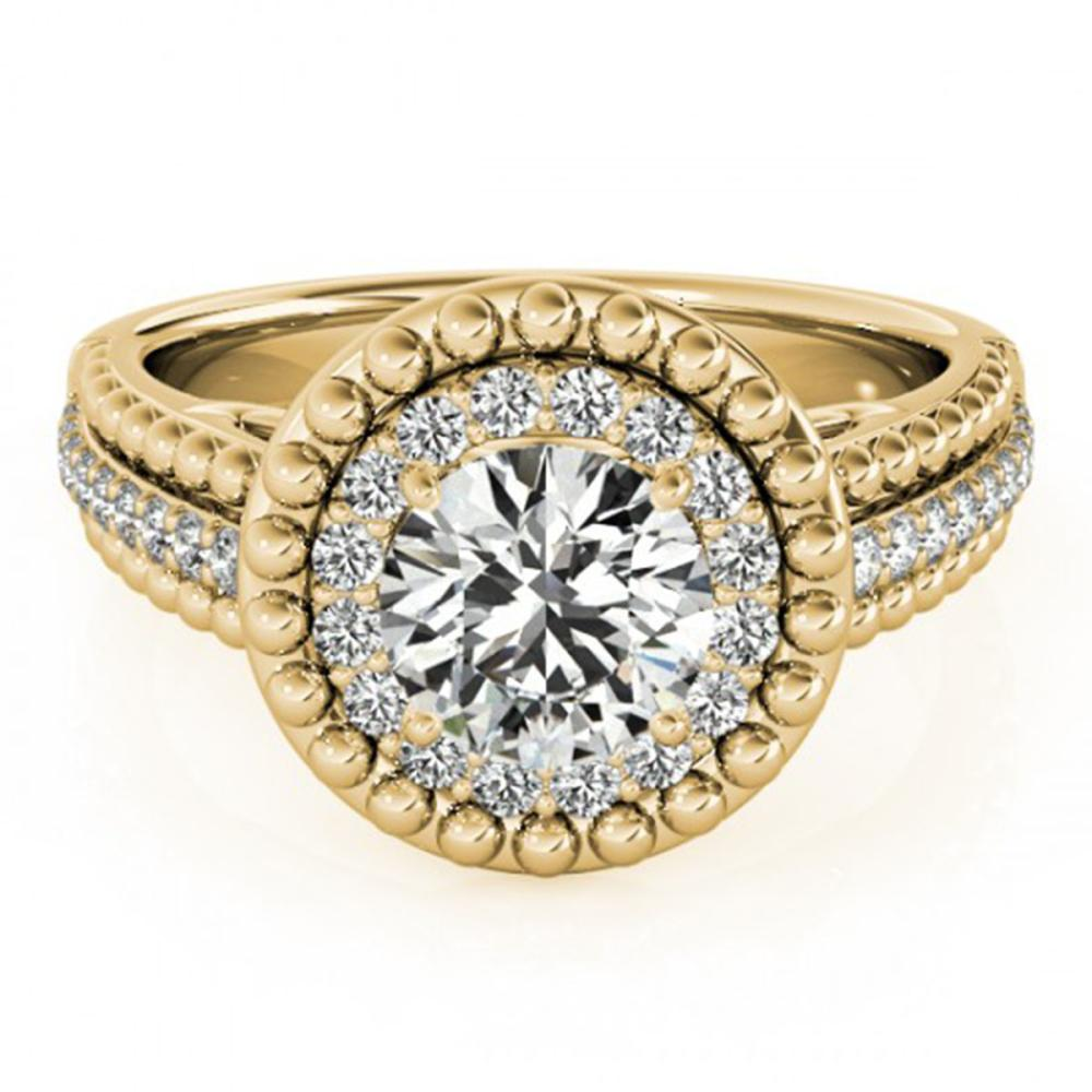 1.15 ctw VS/SI Diamond Solitaire Halo Ring 14K Yellow Gold - REF-146K2W - SKU:24419