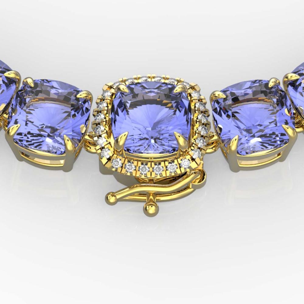 100 ctw Tanzanite & VS/SI Diamond Necklace 14K Yellow Gold - REF-1345V3Y - SKU:23363