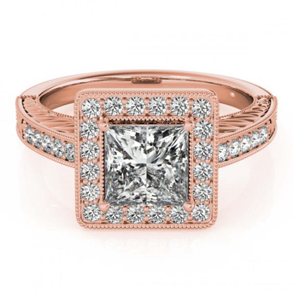 1.60 ctw VS/SI Princess Diamond Halo Ring 14K Rose Gold - REF-414W2H - SKU:24969