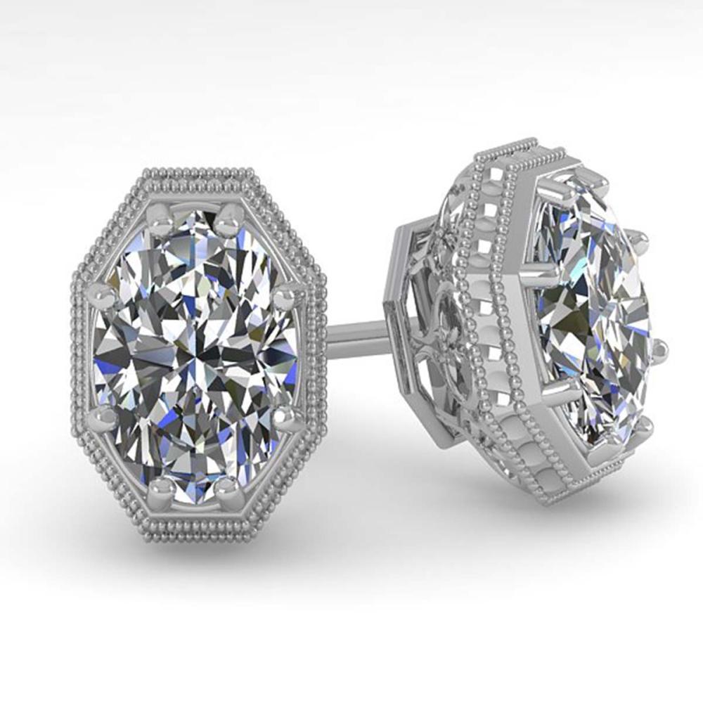 1.0 ctw VS/SI Oval Cut Diamond Stud Earrings 14K White Gold - REF-209N3A - SKU:29763