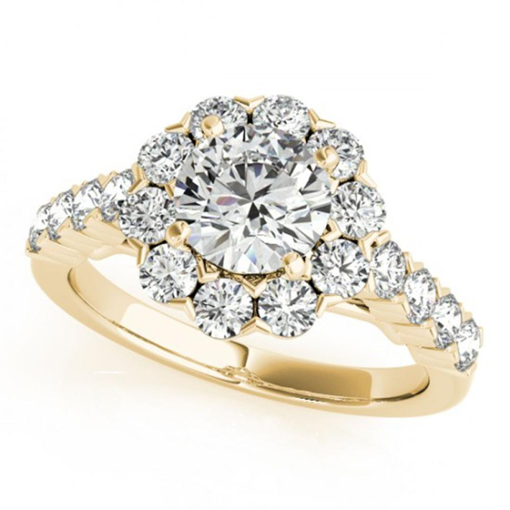 3 ctw VS/SI Diamond Halo Ring 14K Yellow Gold - REF-541K5W - SKU:24227
