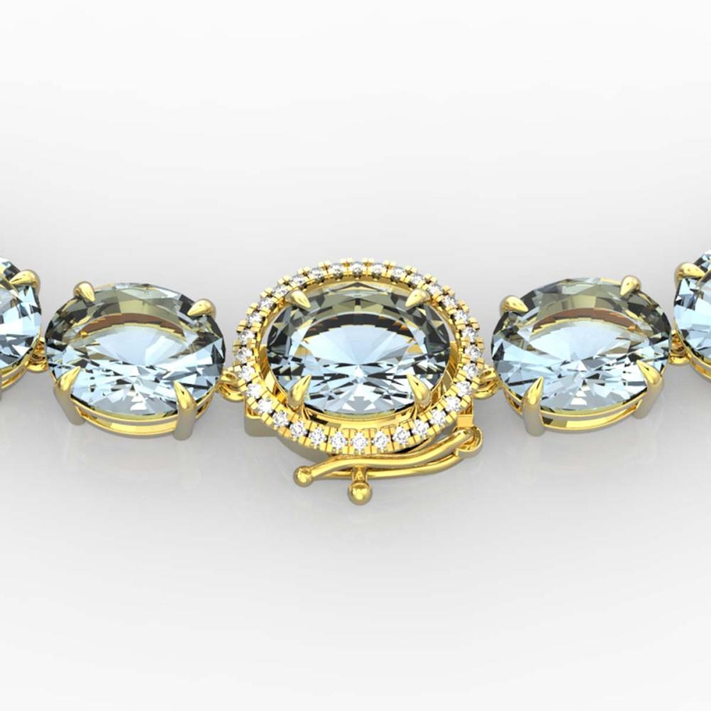 136 ctw Aquamarine & VS/SI Diamond Necklace 14K Yellow Gold - REF-1363X6R - SKU:22290