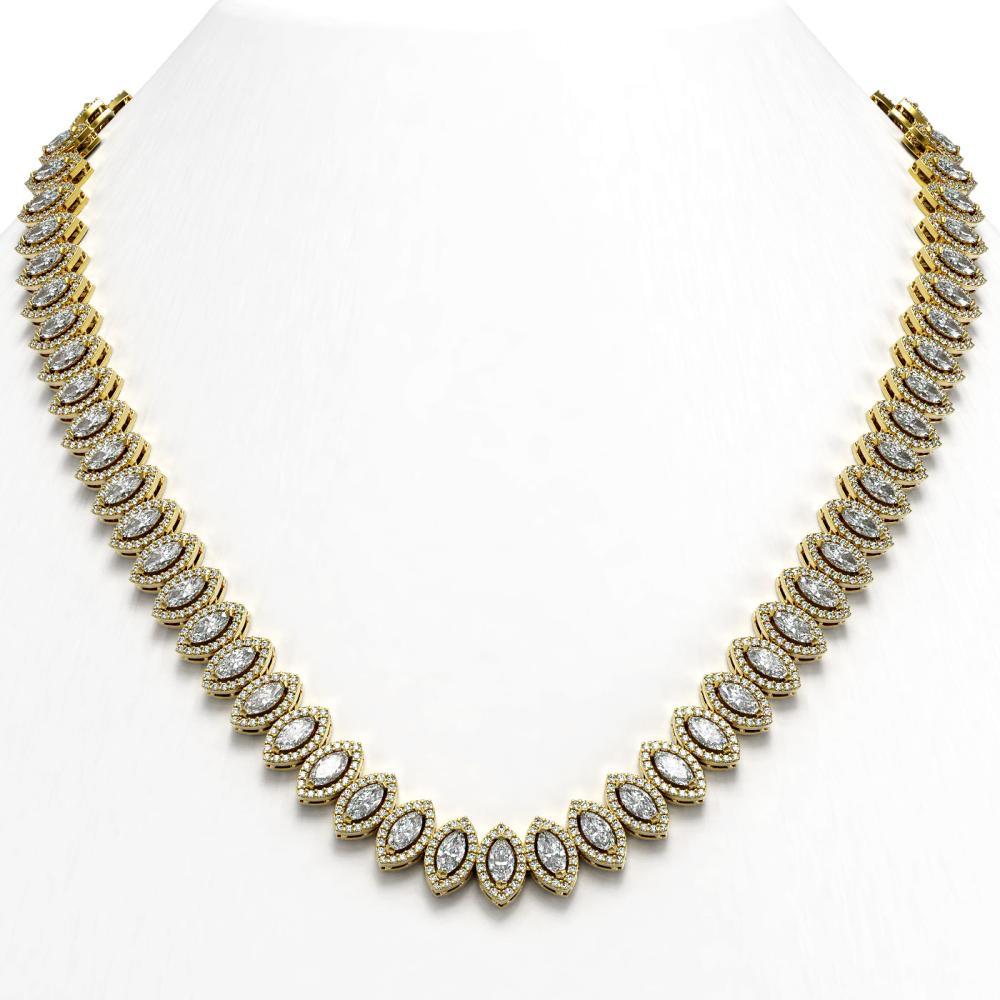 26.11 ctw Marquise Diamond Necklace 18K Yellow Gold - REF-2240R2K - SKU:42958