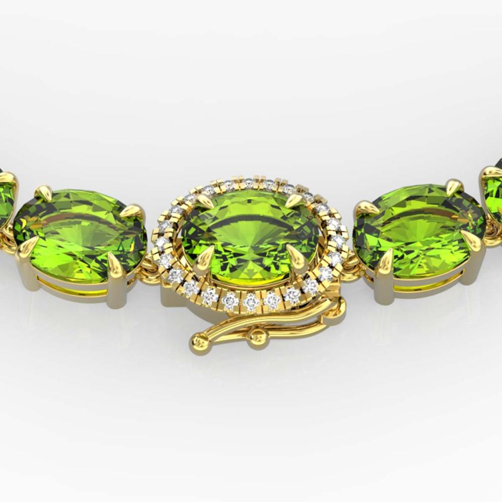 80 ctw Peridot & VS/SI Diamond Necklace 14K Yellow Gold - REF-418K2W - SKU:23471