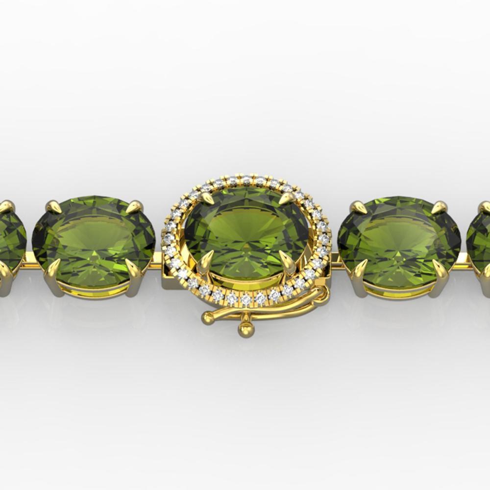 65 ctw Green Tourmaline & VS/SI Diamond Bracelet 14K Yellow Gold - REF-593W8H - SKU:22264