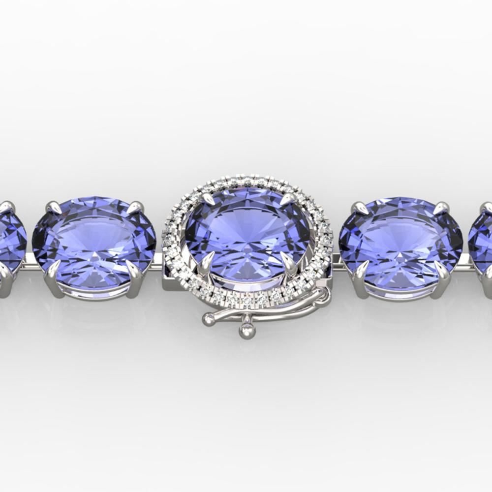 75 ctw Tanzanite & Diamond Bracelet 14K White Gold - REF-865H6M - SKU:22280