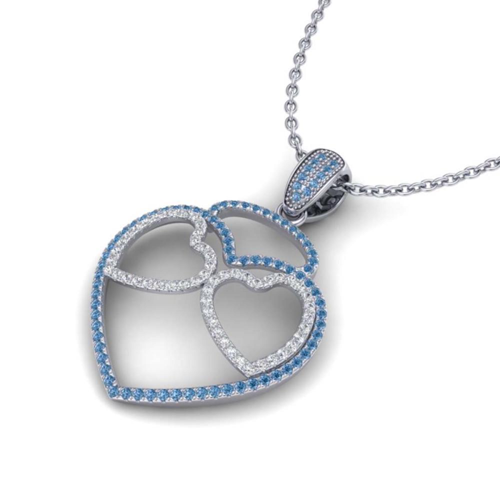 1.20 ctw Blue & VS/SI Diamond Heart Necklace 14K White Gold - REF-110A9V - SKU:22545
