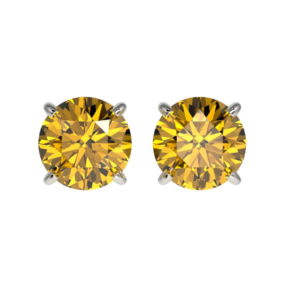 1.50 ctw Intense Yellow Diamond Stud Earrings 10K White Gold - REF-192H2M - SKU:33077