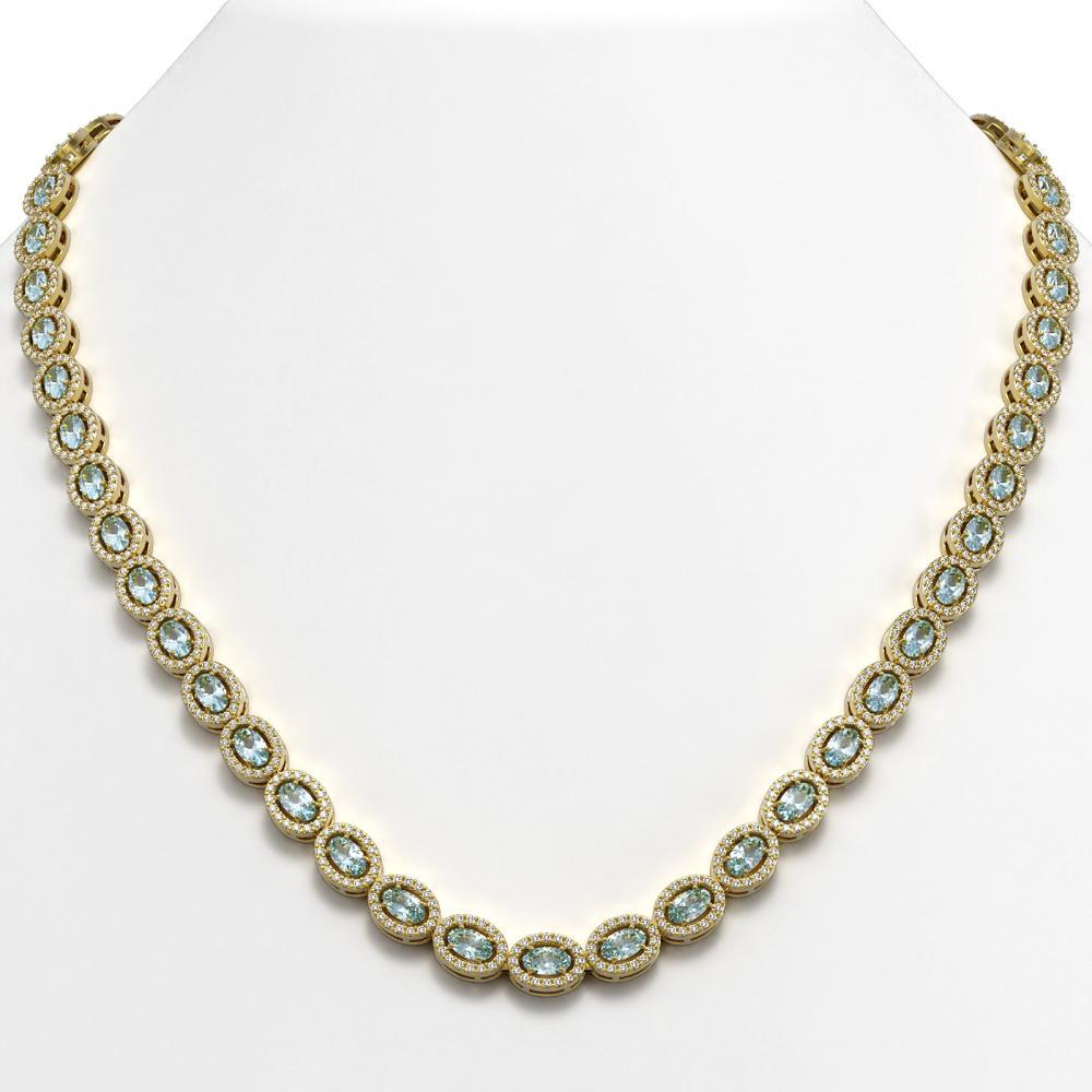 24.07 ctw Sky Topaz & Diamond Halo Necklace 10K Yellow Gold - REF-474K5W - SKU:40330