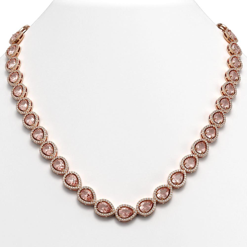 35.13 ctw Morganite & Diamond Halo Necklace 10K Rose Gold - REF-827H8M - SKU:41055