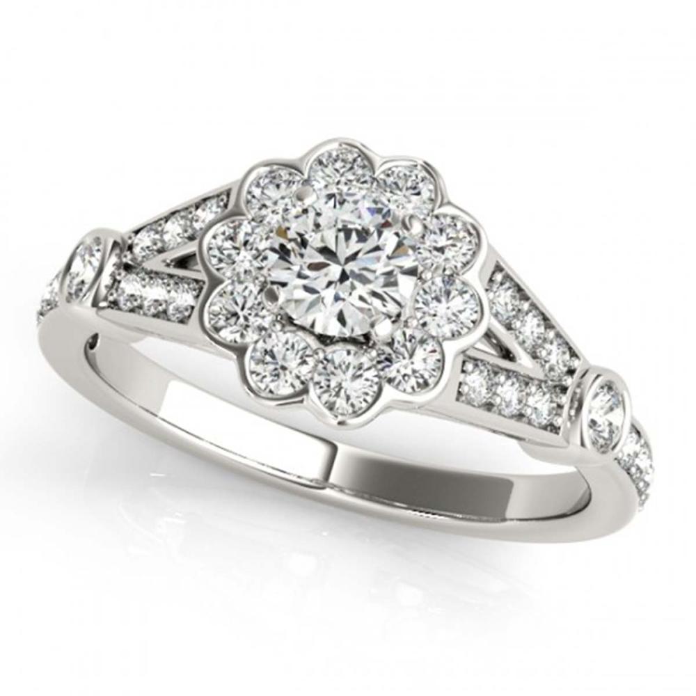 1.40 ctw VS/SI Diamond Solitaire Halo Ring 14K White Gold - REF-154Y3X - SKU:24620