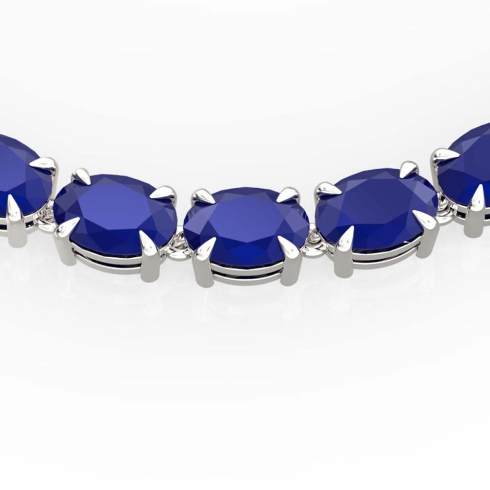 68 ctw Sapphire Eternity Necklace 14K White Gold - REF-234M9F - SKU:23403