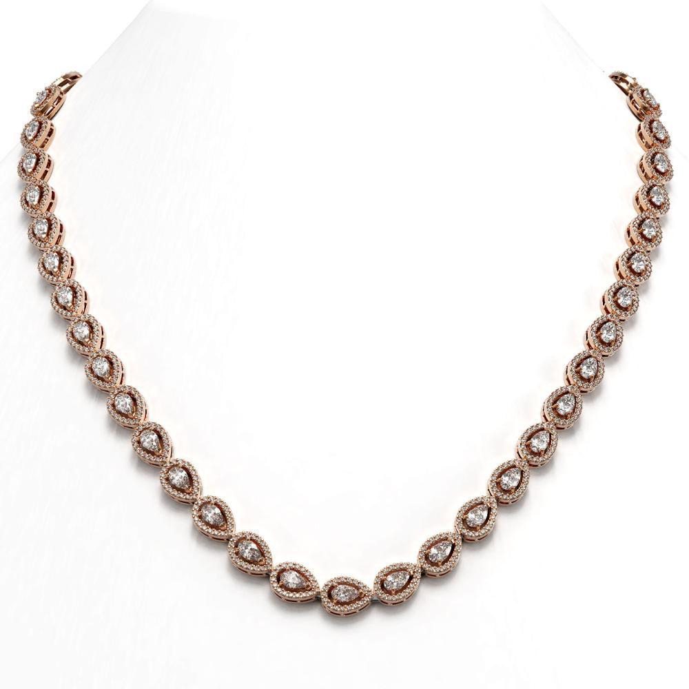 17.28 ctw Pear Diamond Necklace 18K Rose Gold - REF-1497N3A - SKU:42912