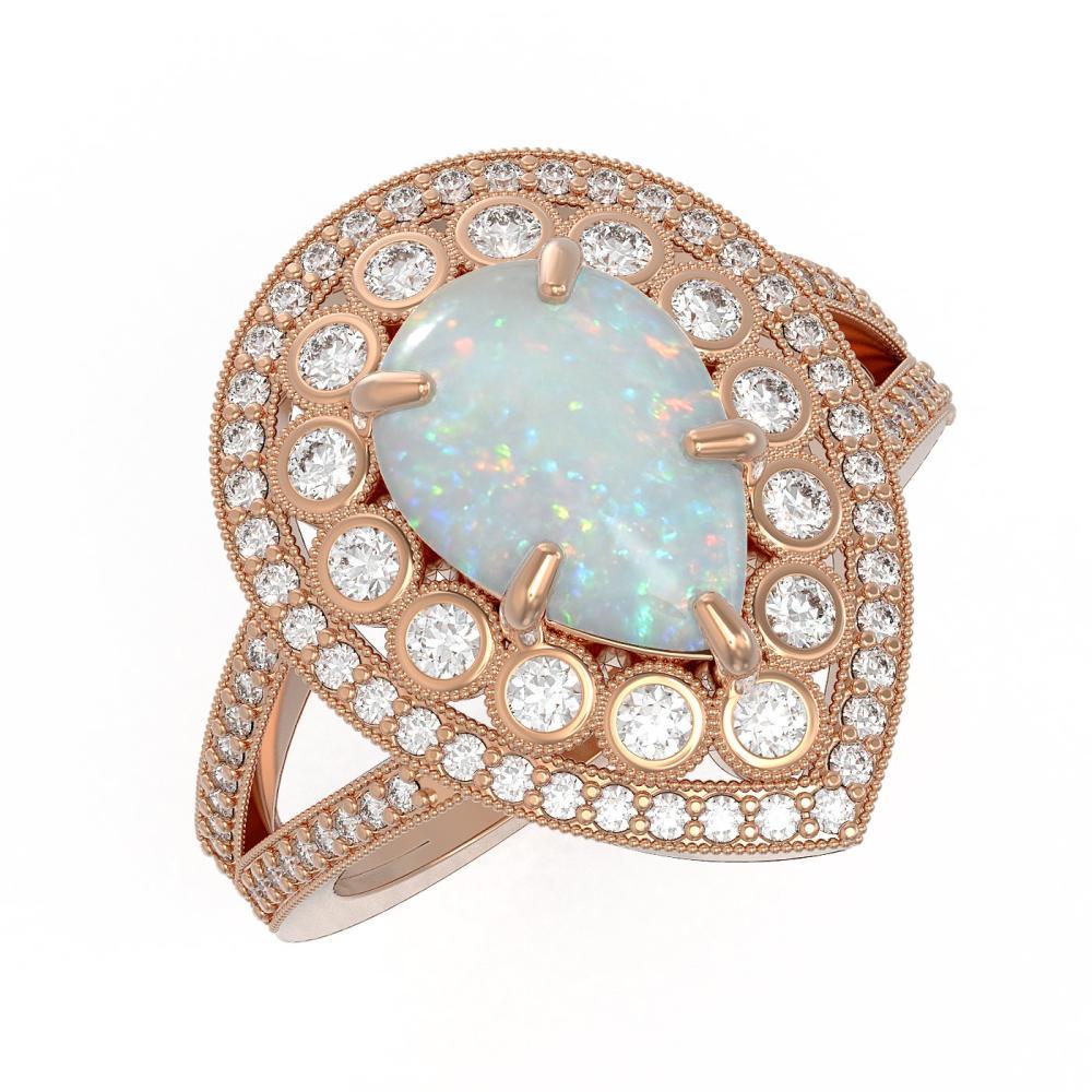 4.19 ctw Opal & Diamond Ring 14K Rose Gold - REF-148W2H - SKU:43137