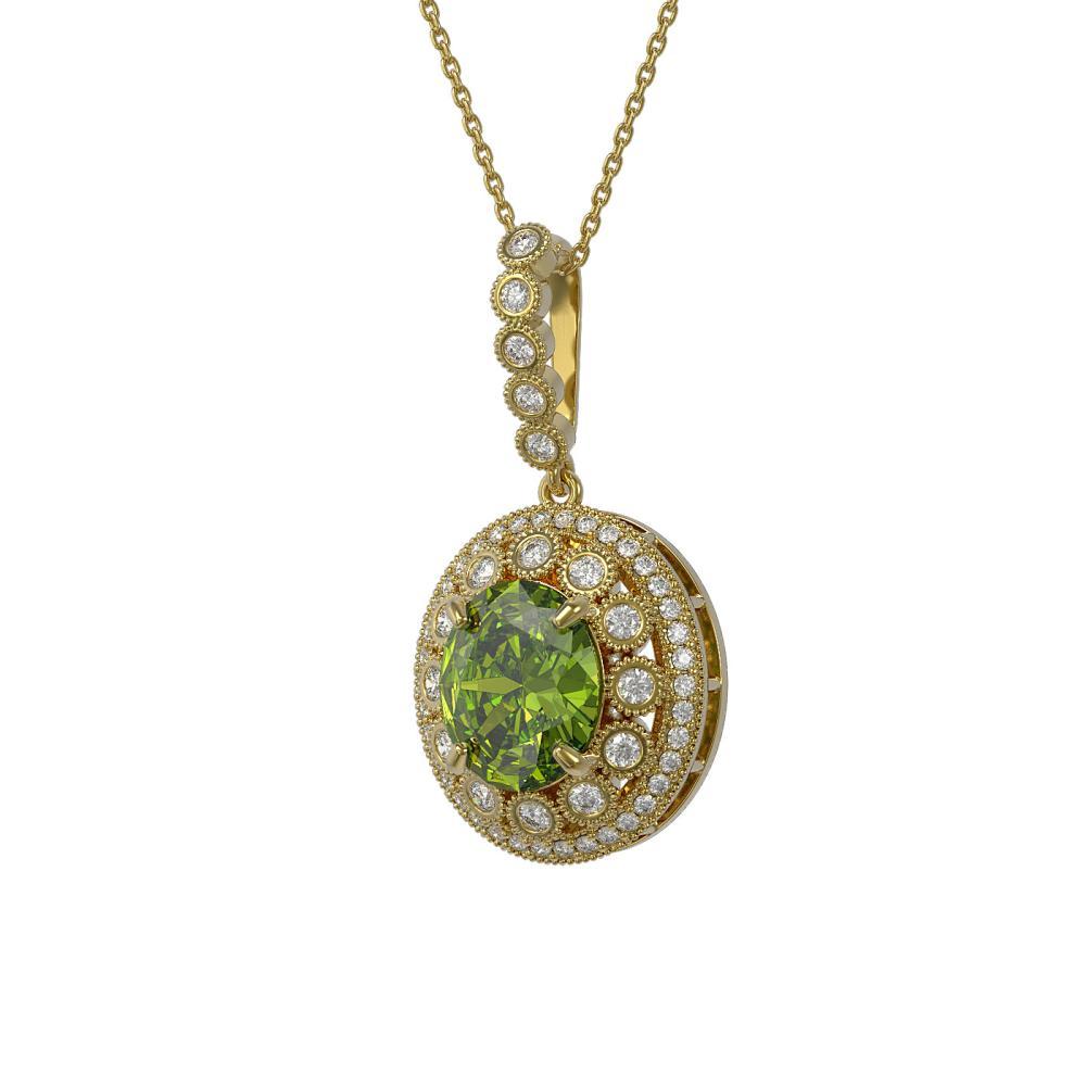 7.51 ctw Tourmaline & Diamond Necklace 14K Yellow Gold - REF-206A7V - SKU:43840