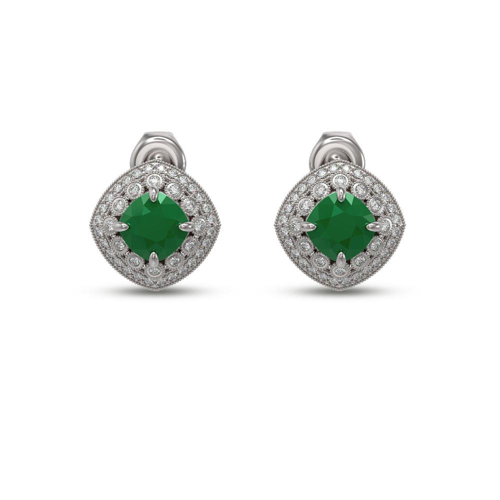 4.99 ctw Emerald & Diamond Earrings 14K White Gold - REF-128M5F - SKU:44120