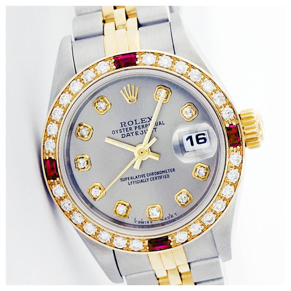 Rolex Ladies Two Tone 14K Gold/SS, Diam Dial & Diam/Ruby Bezel, Sapphire Crystal - REF-434T5K