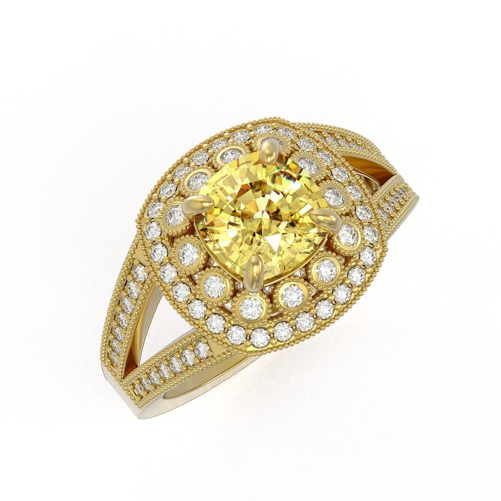 2.09 ctw Canary Citrine & Diamond Ring 14K Yellow Gold - REF-94X9R - SKU:44041