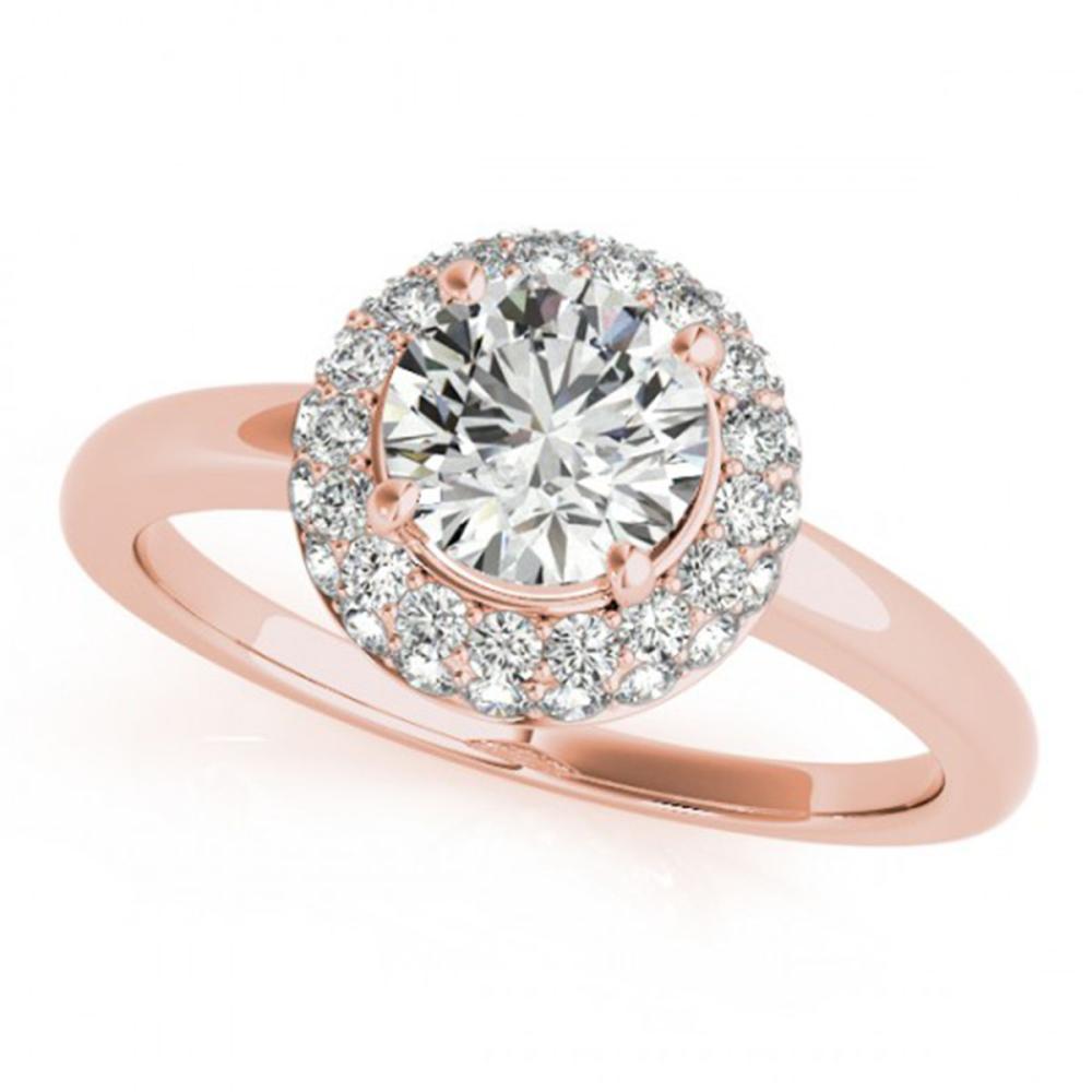0.75 ctw VS/SI Diamond Solitaire Halo Ring 14K Rose Gold - REF-99F5N - SKU:24322