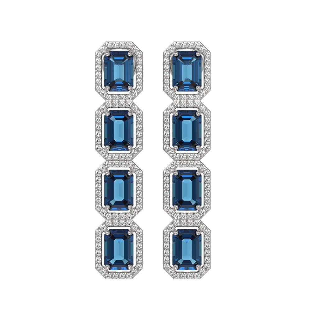 12.02 ctw London Topaz & Diamond Halo Earrings 10K White Gold - REF-152V2Y - SKU:41462