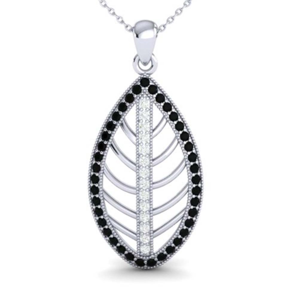 1 ctw Black & White VS/SI Diamond Necklace 18K White Gold - REF-100M2F - SKU:21544