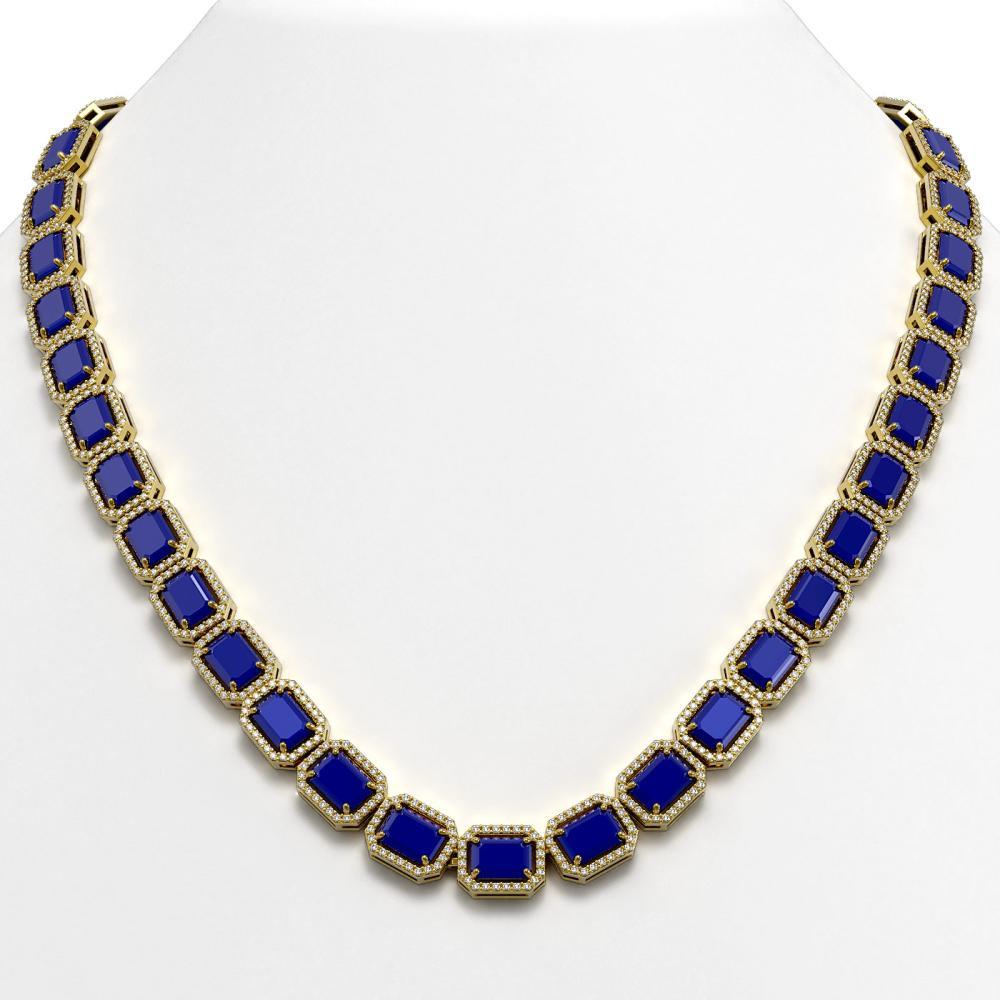 58.59 ctw Sapphire & Diamond Halo Necklace 10K Yellow Gold - REF-731K3W - SKU:41338